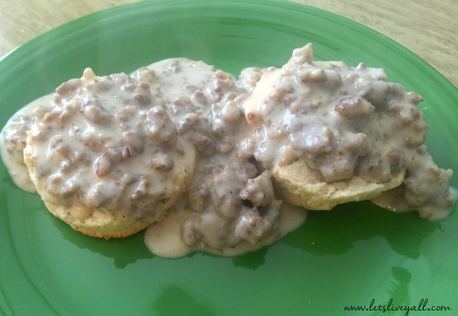 Lets Live Yall Biscuits and gravy finished